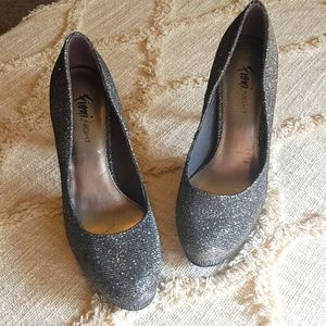 Sparkly silver sweetheart heels
